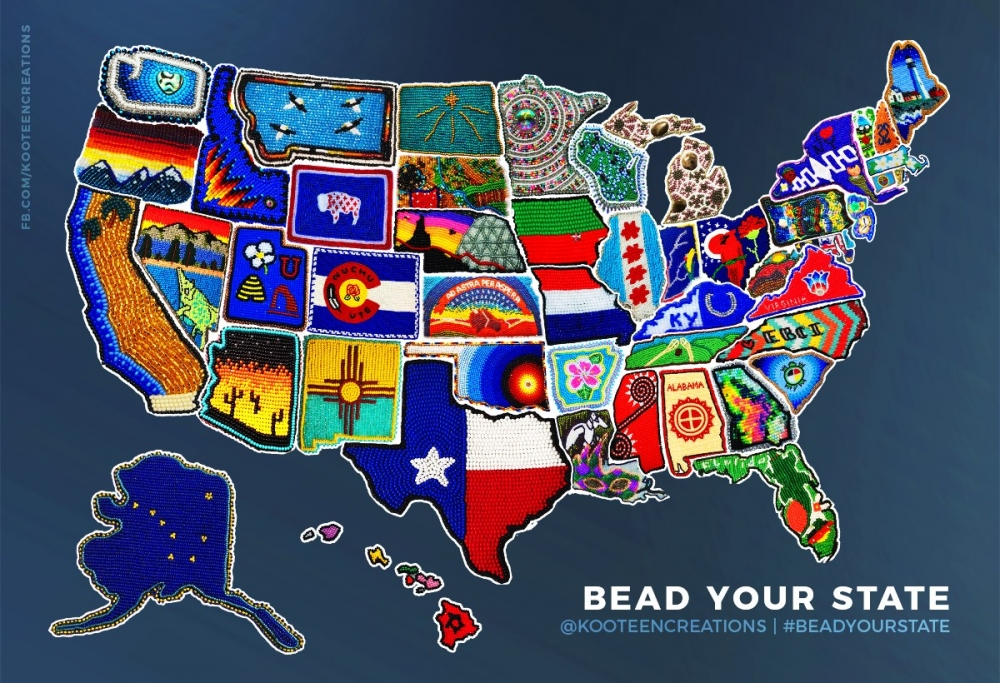 Beaded map of the US