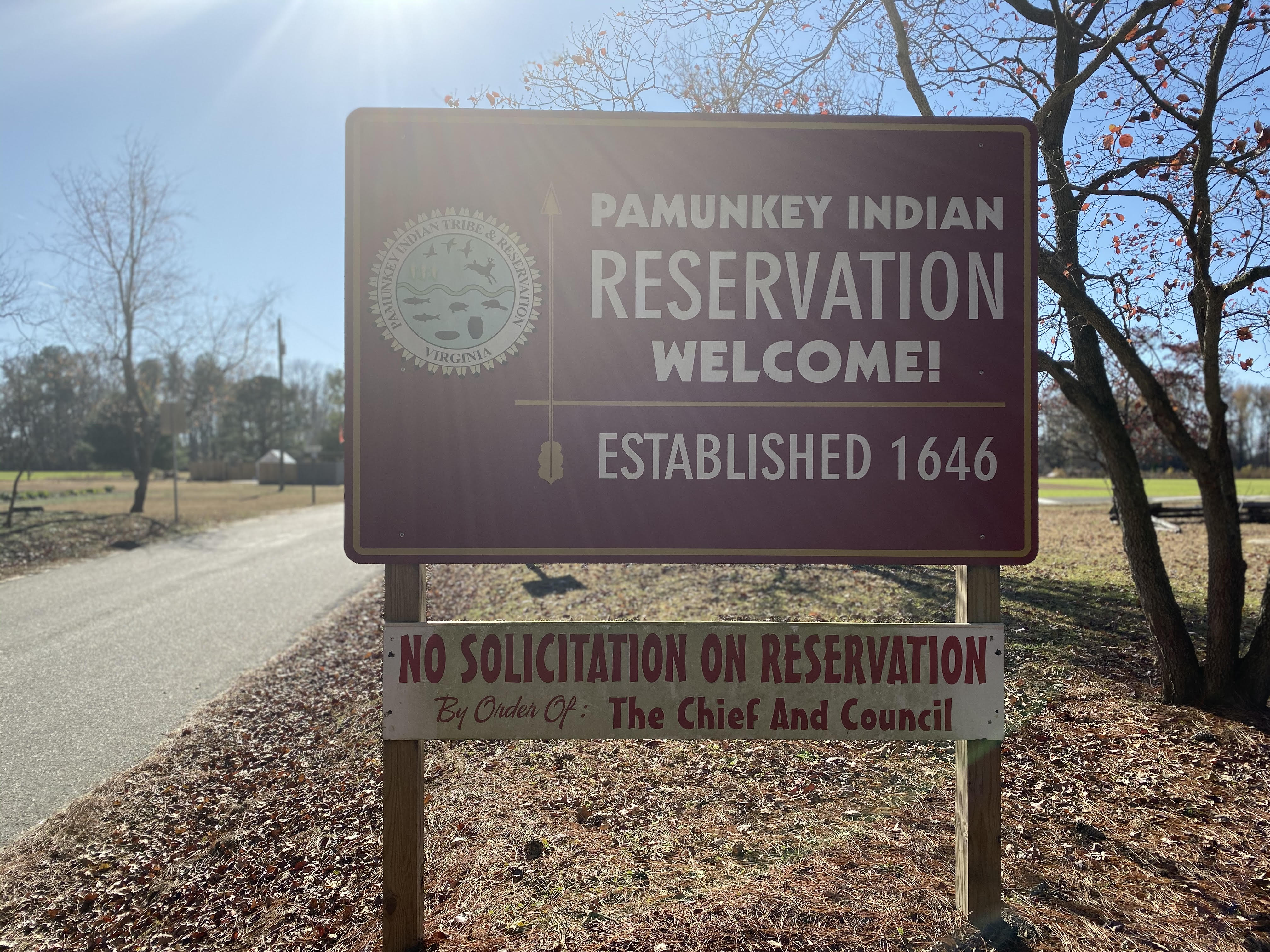 Pamunkey Indian Reservation sign