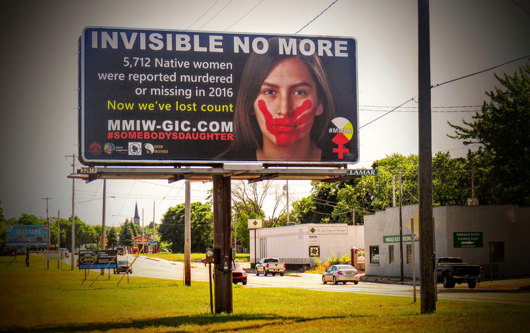 MMIW billboard in Manistee, Michigan, home of the Little Band of Ottawa Indians. Photograph by Cecilia LaPointe