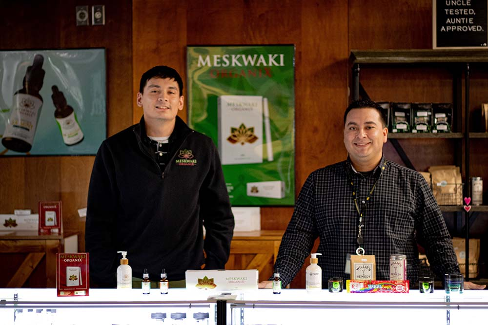 Vincent Lasley (left) is Product Specialist at Meskwaki OrganiX. Darrell Hill (right) is the Meskwaki OrganiX Manager.